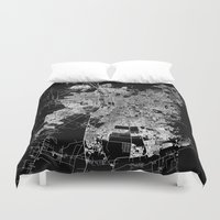 chile Duvet Covers featuring Santiago map Chile by Line Line Lines