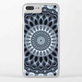 Silver and grey mandala Clear iPhone Case