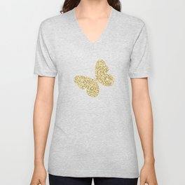 Butterfly Christmas seamless pattern and Gold Confetti on Dark Gray and Red Stripes Background Unisex V-Neck
