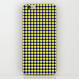 Electric Yellow and Navy Blue Diamonds iPhone Skin