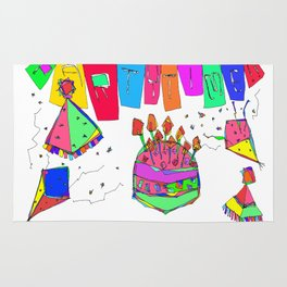 Party Time! party illustration, birthday gift art, graduation, wedding, baby shower, christmas Rug