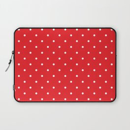 Small White Polka Dots with Red Background Laptop Sleeve