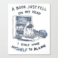 pun Canvas Prints featuring Book Pun by Velocesmells