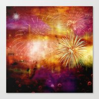fireworks Canvas Prints featuring fireworks by haroulita
