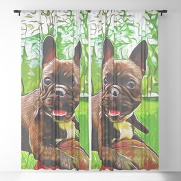french bulldog basketball vector art Sheer Curtain