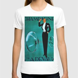 Vintage Champagne Veuve A. Devaux, Paris, France Jazz Age Roaring Twenties Advertisement Poster T-shirt