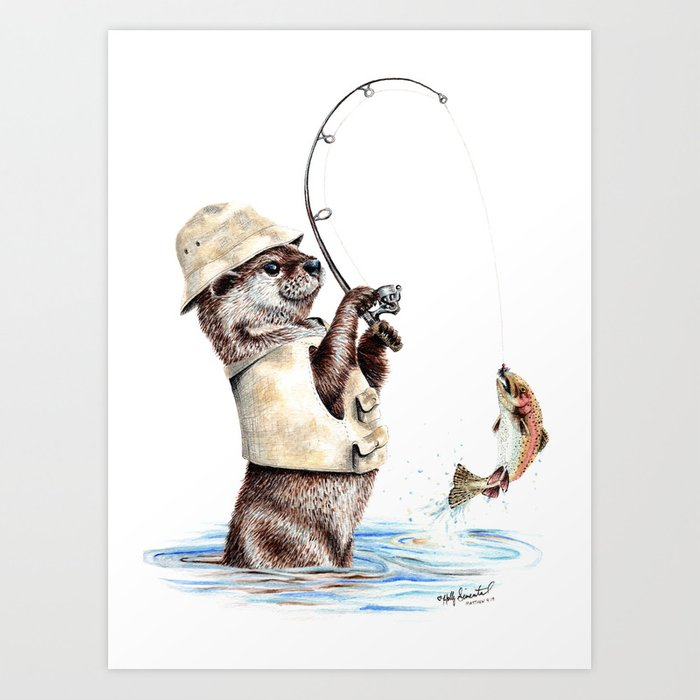 """"""" Natures Fisherman """" fishing river otter with trout Kunstdrucke"""
