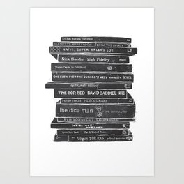 Mono book stack 1 Art Print