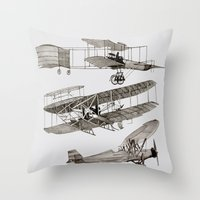 airplanes Throw Pillows featuring airplanes 3 by Кaterina Кalinich