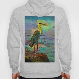 Grey heron on coast of ocean Hoody