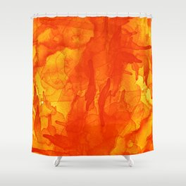 Microcosmos Rojo Shower Curtain