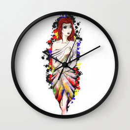 Dripping drape of colours Wall Clock
