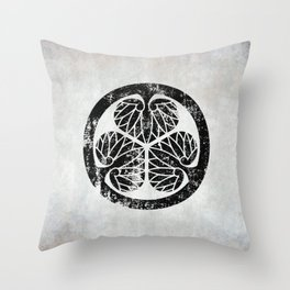 Tokugawa Clan · Black Mon · Distressed Throw Pillow