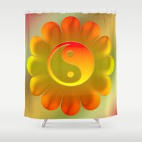 yin yang Shower Curtains featuring Yin Yang by Art-Motiva