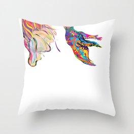 """Humhumbird"" Paulette Lust's whimsical, colorful, contemporary, original, fun, art.  Throw Pillow"