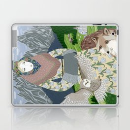 Lady with an owl and a dog Laptop & iPad Skin