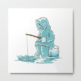 Eskimo fishing for fish Metal Print