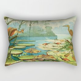 Amazonian birds by Göldi & Emil 1859-1917 Belem Brazil Colorful Tropical Birds Rectangular Pillow