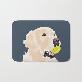Golden Retriever with tennis ball Bath Mat