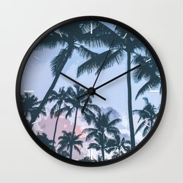 Tropical Palm Trees Silhouette Wall Clock