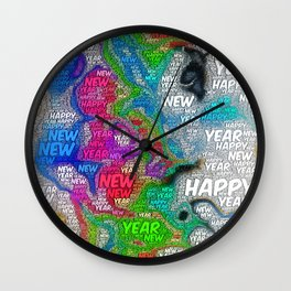 WordArt Happy new year Wall Clock