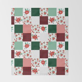 Plaid quilt pattern outdoors nature forest christmas holidays gifts Throw Blanket