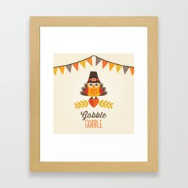 THANKSGIVING OWL IN TURKEY COSTUME AND PILGRIM HAT Framed Art Print