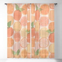 Sunny Oranges / Tropical Fruit Illustration Sheer Curtain