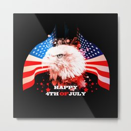 Independence Day, eagle with USA flag Metal Print
