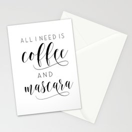 Makeup Printable Poster, All I Need Is Coffee and Mascara, Vanity Decor, Makeup Gift, Bath Decor Stationery Cards