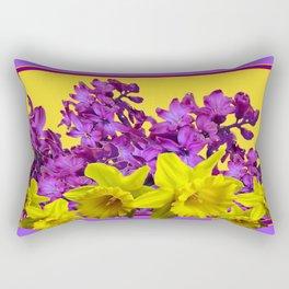 Sunny Yellow Daffodile Lilac  Purple Floral Art Rectangular Pillow