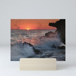 Red Sun Through The Waves. Roche Reefs At Sunset. Mini Art Print
