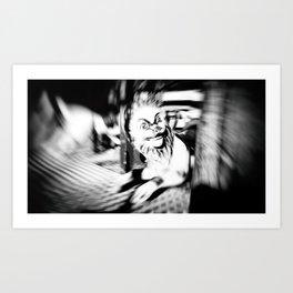 FUNFAIR - LION (Carousel Blur - Black and White) Art Print