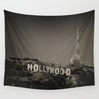 hollywood Wall Tapestries featuring Vintage Hollywood sign by Claude Gariepy