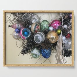 Vintage Ornament Wreath Serving Tray