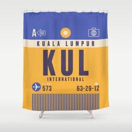 Retro Airline Luggage Tag - KUL Kuala Lumpur Malaysia Shower Curtain