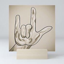 ASL I Love You Sepia Tones Mini Art Print