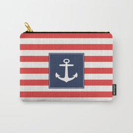Anchor on red and white stripes Carry-All Pouch
