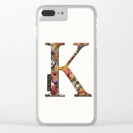 Floral letter K - Be KIND label text, Lo Lah Studio Clear iPhone Case
