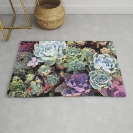 Colorful Succulents Low Poly Geometric Triangles Rug