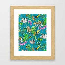Rainforest Friends - watercolor animals on textured teal Framed Art Print