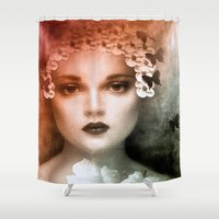 bride Shower Curtains featuring Vintage Bride by Saundra Myles