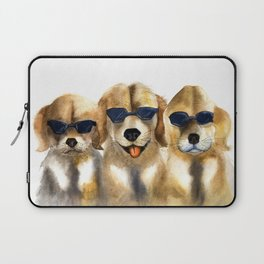 Yellow dogs  in funny glasses Laptop Sleeve