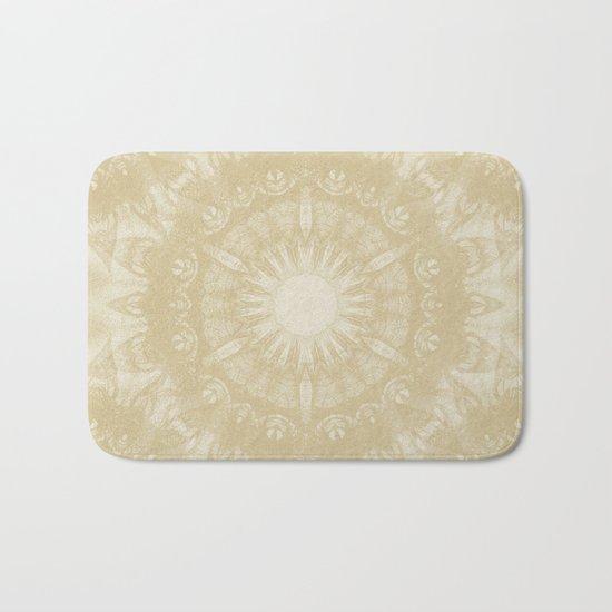 Peaceful kaleidoscope in beige Bath Mat