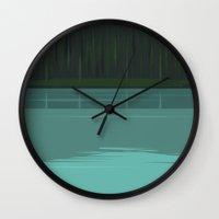 quibe Wall Clocks featuring Minimal Lake Pines by quibe