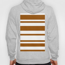 Mixed Horizontal Stripes - White and Brown Hoody