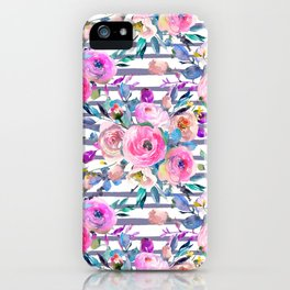 Pink mauve lilac hand painted watercolor roses floral stripes iPhone Case