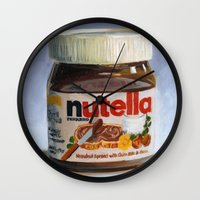 nutella Wall Clocks featuring Nutella Oil Painting by The GRYLLUS