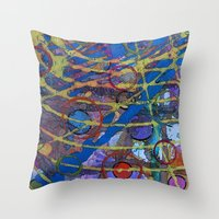 grid Throw Pillows featuring Grid by Heather Plewes Art