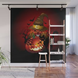Skull Witch Creepy Halloween Wall Mural